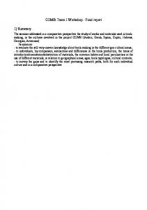 COMSt Team 1 Workshop - Final report