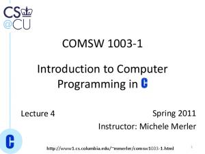 COMSW Introduction to Computer Programming in C