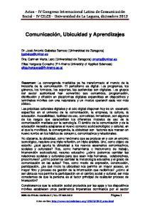Comunicación, Ubicuidad y Aprendizajes