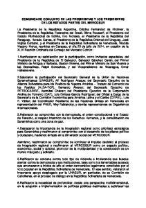 COMUNICADO CONJUNTO DE LAS PRESIDENTAS Y LOS PRESIDENTES DE LOS ESTADOS PARTES DEL MERCOSUR