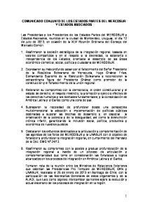 COMUNICADO CONJUNTO DE LOS ESTADOS PARTES DEL MERCOSUR Y ESTADOS ASOCIADOS