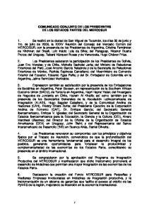 COMUNICADO CONJUNTO DE LOS PRESIDENTES DE LOS ESTADOS PARTES DEL MERCOSUR