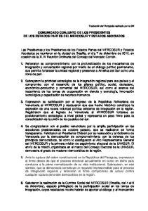 COMUNICADO CONJUNTO DE LOS PRESIDENTES DE LOS ESTADOS PARTES DEL MERCOSUR Y ESTADOS ASOCIADOS