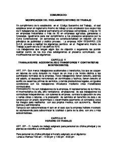 COMUNICADO: MODIFICACION DEL REGLAMENTO INTERNO DE TRABAJO