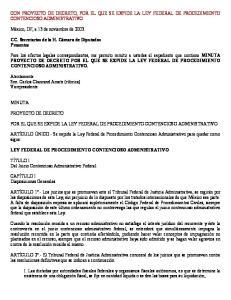 CON PROYECTO DE DECRETO, POR EL QUE SE EXPIDE LA LEY FEDERAL DE PROCEDIMIENTO CONTENCIOSO ADMINISTRATIVO