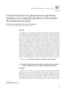 Concentraciones de glutamina en pacientes tratados con cisplatino predicen el desarrollo de insuficiencia renal