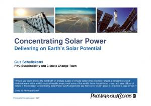 Concentrating Solar Power Delivering on Earth s Solar Potential