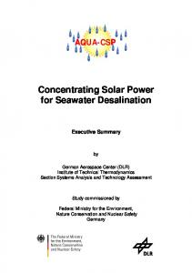 Concentrating Solar Power for Seawater Desalination