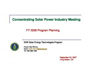 Concentrating Solar Power Industry Meeting