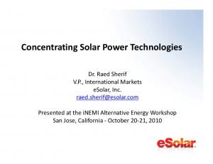 Concentrating Solar Power Technologies
