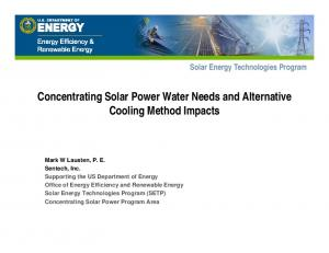 Concentrating Solar Power Water Needs and Alternative