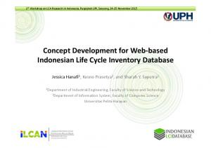 Concept Development for Web-based Indonesian Life Cycle Inventory Database