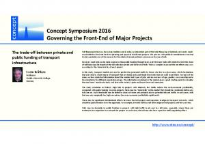 Concept Symposium 2016 Governing the Front End of Major Projects