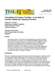 Conceptions of Grammar Teaching : A case study of Teachers' Beliefs and Classroom Practices