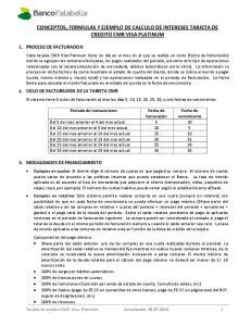 CONCEPTOS, FORMULAS Y EJEMPLO DE CALCULO DE INTERESES TARJETA DE CREDITO CMR VISA PLATINUM