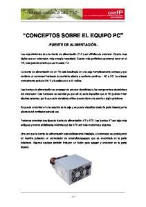CONCEPTOS SOBRE EL EQUIPO PC