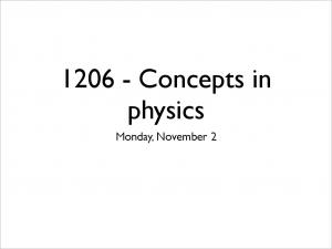 Concepts in physics. Monday, November 2