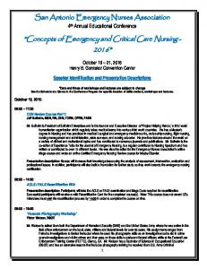 Concepts of Emergency and Critical Care Nursing