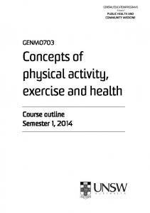 Concepts of physical activity, exercise and health