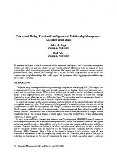 Conceptual Ability, Emotional Intelligence and Relationship Management: A Multinational Study