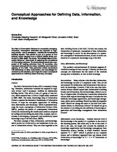 Conceptual Approaches for Defining Data, Information, and Knowledge
