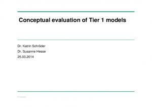 Conceptual evaluation of Tier 1 models