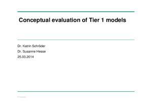 Conceptual evaluation of Tier 1 models