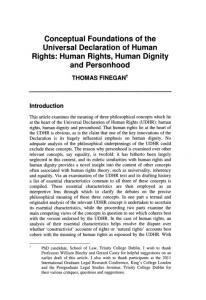 Conceptual Foundations of the Universal Declaration of Human Rights: Human Rights, Human Dignity and Personhood