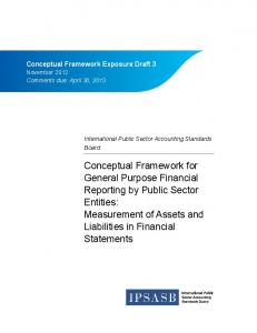 Conceptual Framework for General Purpose Financial Reporting by Public Sector Entities: Measurement of Assets and Liabilities in Financial Statements