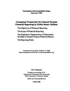 Conceptual Framework for General Purpose Financial Reporting by Public Sector Entities: