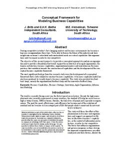 Conceptual Framework for Modeling Business Capabilities. Abstract