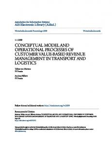 CONCEPTUAL MODEL AND OPERATIONAL PROCESSES OF CUSTOMER VALUE-BASED REVENUE MANAGEMENT IN TRANSPORT AND LOGISTICS