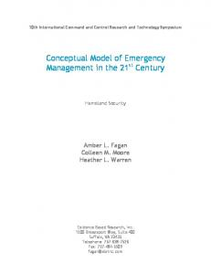 Conceptual Model of Emergency Management in the 21 st Century