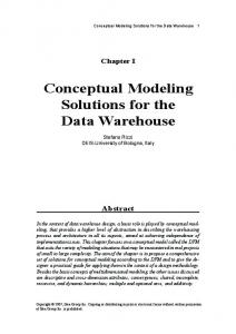 Conceptual Modeling Solutions for the Data Warehouse