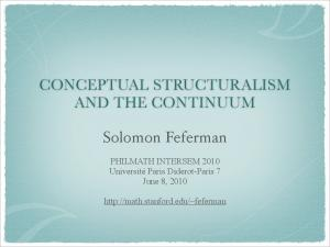 CONCEPTUAL STRUCTURALISM AND THE CONTINUUM. Solomon Feferman