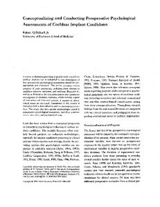 Conceptualizing and Conducting Preoperative Psychological Assessments of Cochlear Implant Candidates