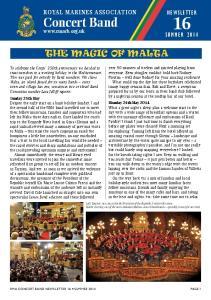 Concert Band THE MAGIC OF MALTA NEWSLETTER SUMMER Royal Marines Association