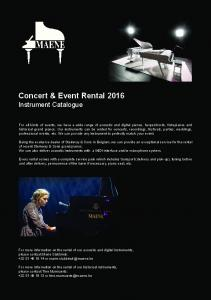 Concert & Event Rental 2016 Instrument Catalogue