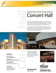 Concert Hall. Center for the Arts. cfa.gmu.edu center for the arts