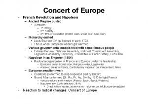 Concert of Europe French Revolution and Napoleon