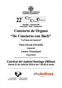 Concierto de Organo De Concierto con Bach