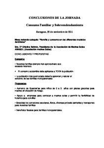 CONCLUSIONES DE LA JORNADA. Consumo Familiar y Sobreendeudamiento