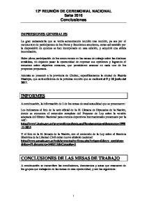 CONCLUSIONES DE LAS MESAS DE TRABAJO