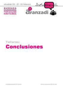 Conclusiones talleres Quedada Ciudadana. Talleres: Conclusiones