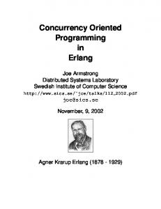 Concurrency Oriented Programming in Erlang