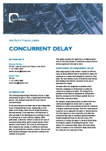 CONCURRENT DELAY. Asia Pacific Projects Update
