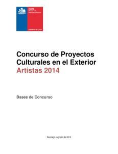 Concurso de Proyectos Culturales en el Exterior Artistas Bases de Concurso