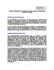 CONDENSADORES EVAPORATIVOS DE ACERO INOXIDABLE