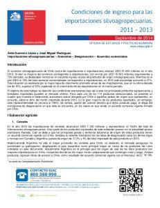 Condiciones de ingreso para las importaciones silvoagropecuarias,