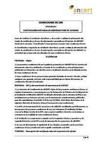 CONDICIONES DE USO APLICABLES A CERTIFICADOS NOTARIALES CORPORATIVOS DE CIFRADO